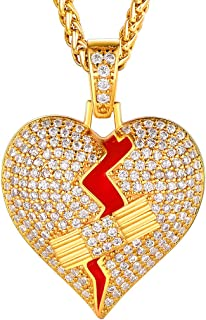 Men Women Iced Out Hip Hop Chains or Pendant Jewelry, Diamond Tennis CZ Cuban Chain Width 4mm/14mm, Personalized 18K Gold Plated Rapper's Necklace Length 16 Inch to 30 Inch