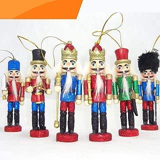 Jolik 6 PCS Glittery Nutcracker Ornament Christmas Nutcracker Figures for Christmas Decor