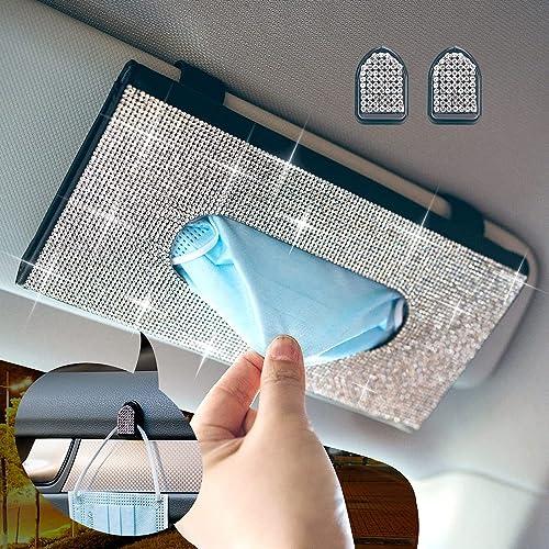 popular Bling Bling Car Sun Visor Tissue Box Holder online sale & Glitter Mask Hook 2021 Clip,Crystal Sparkling Napkin Holder,PU Leather Backseat Tissue Case Car Accessories for Women outlet online sale