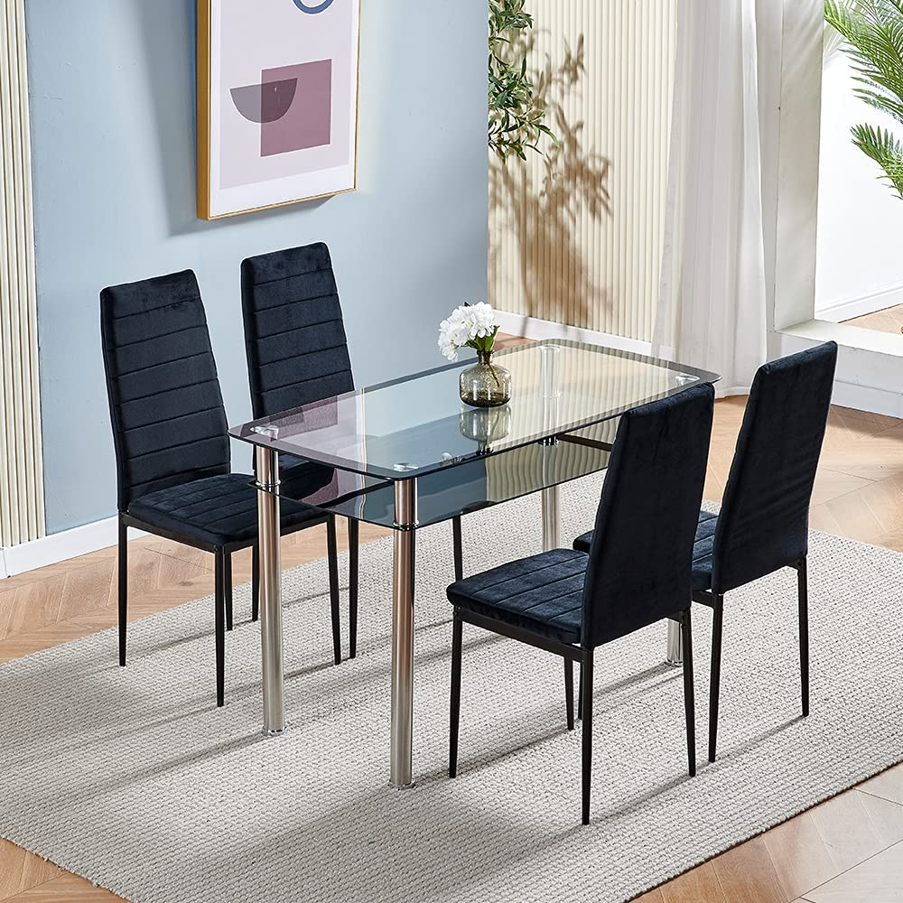 Buy 9 Piece Dining Room Table Set of 9 Black Glass Dining Table ...