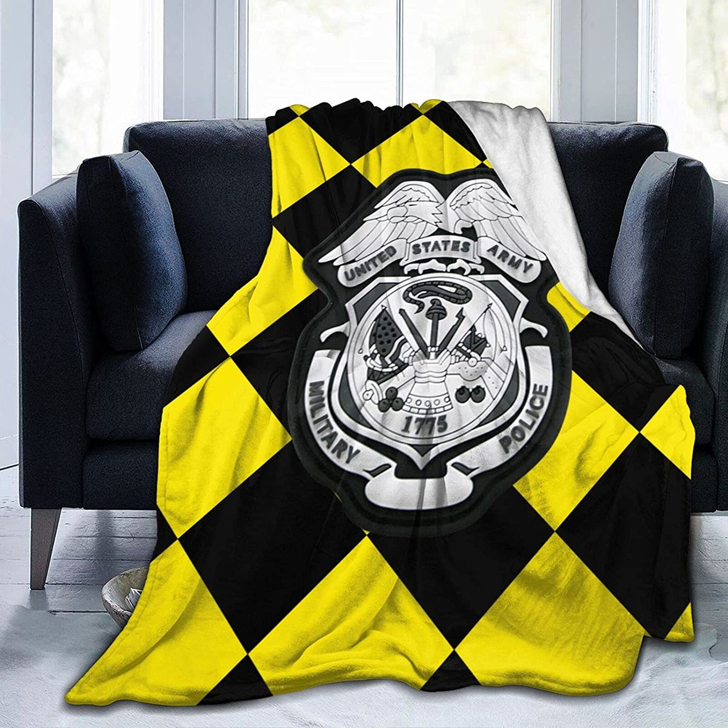 Special Campaign Bombing new work Us Army Military Police Badge Milit Printed Flannel with Blanket