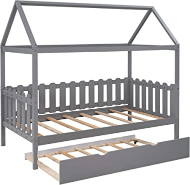 Merax House Twin Size with Trundle, Bed Frame with Roof and Fence-Shaped Guardrail for Kids and Teens, Gray