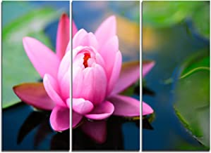 Design Art Large Lotus Flower in the Pond Floral on Canvas Art Wall Photgraphy Artwork Print