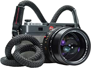 Vi Vante Tiger Braided Luxury Lambskin Leather Black Camera Neck Strap 47 inches Long with Built in Side Protection electroplated mounting Rings and Carry Pouch
