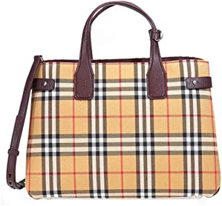 Medium Banner Vintage Check and Leather Tote- Deep Claret