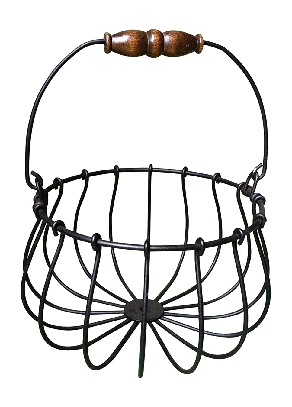 Wire Egg Basket, Black Wrought Iron, Wood Handle, Holds 12-20 Eggs, Made in USA