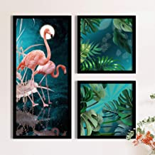 Painting Mantra Flamingo Floral Theme in Green Background Framed Printed Set of 3 Wall Art Print, Painting(1 Unit 22 X 47 ...