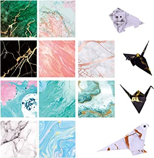 Paperkiddo 100 Sheets Origami Paper Craft Folding Paper Marble Pattern Premium Quality for Arts and Crafts 6