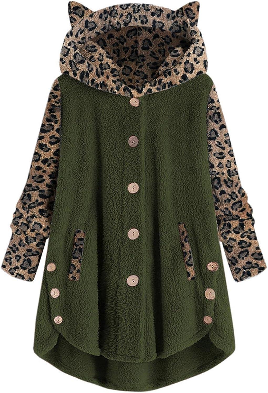 Womens Sherpa Fleece Hoodies Jacket Casual Oversized Fuzzy Full Zip Cat Ear Light Winter Warm Pullover Hoodie Coat