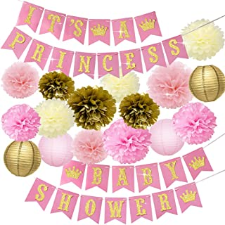 Baby Shower Decorations for Girl Pink and Gold Princess Baby Shower Party Supplies It's a Princess Baby Shower Banner Pink Gold Cream Tissue Pom Poms Paper Lanterns Gender Reveal Set for Girl