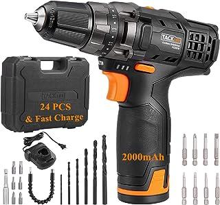 """باتری شارژر 60 میلی متری، لوازم جانبی 14 عدد، چاقو 3/8 """"بدون کلید فلزی، حداکثر گشتاور 239 پوند، 19 + 1 موقعیت با چراغ"""