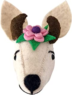Felt Animal Wall Mount - Stuffed Cow Head with Flowers - Home and Nursery Handmade Wall Décor for Kids or Cow Lovers - Farmyard and Barnyard Theme Decorations