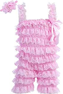 Baby Girls Bowknot Lace Folds Romper and Headband Infant Clothes