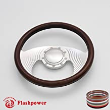 Flashpower 14`` Billet Full Wrap 9 Bolts Steering Wheel with 2`` Dish and Horn Button (Walnut Wood)