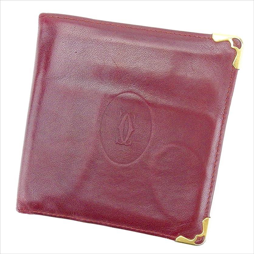 百ご近所敗北(カルティエ) Cartier 二つ折り財布 財布 ボルドー×ゴールド マストライン レディース メンズ 可 中古 T2075