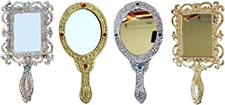 CRAFTICIA Handheld Mirror (Metal_Multicolor_18 x 10 cm) Set of 4