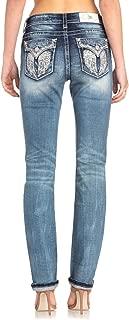 Miss Me Women's Angel Wings Embellished Easy Straight Leg Jeans