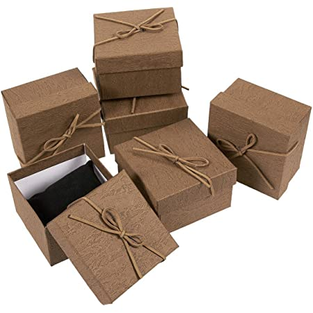 Gift Boxes Set 3.5 x 3.5 x 2.3 inches 6 Pack Jewelry Gift Boxes with Leather Bow Knot on The Lid for Rings, Bracelet, Necklace - Brown
