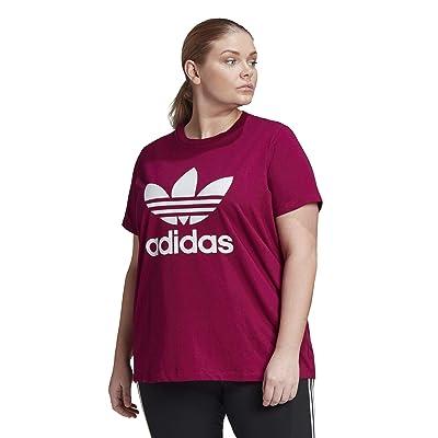 adidas Originals Plus Size Trefoil Tee (Power Berry/White) Women