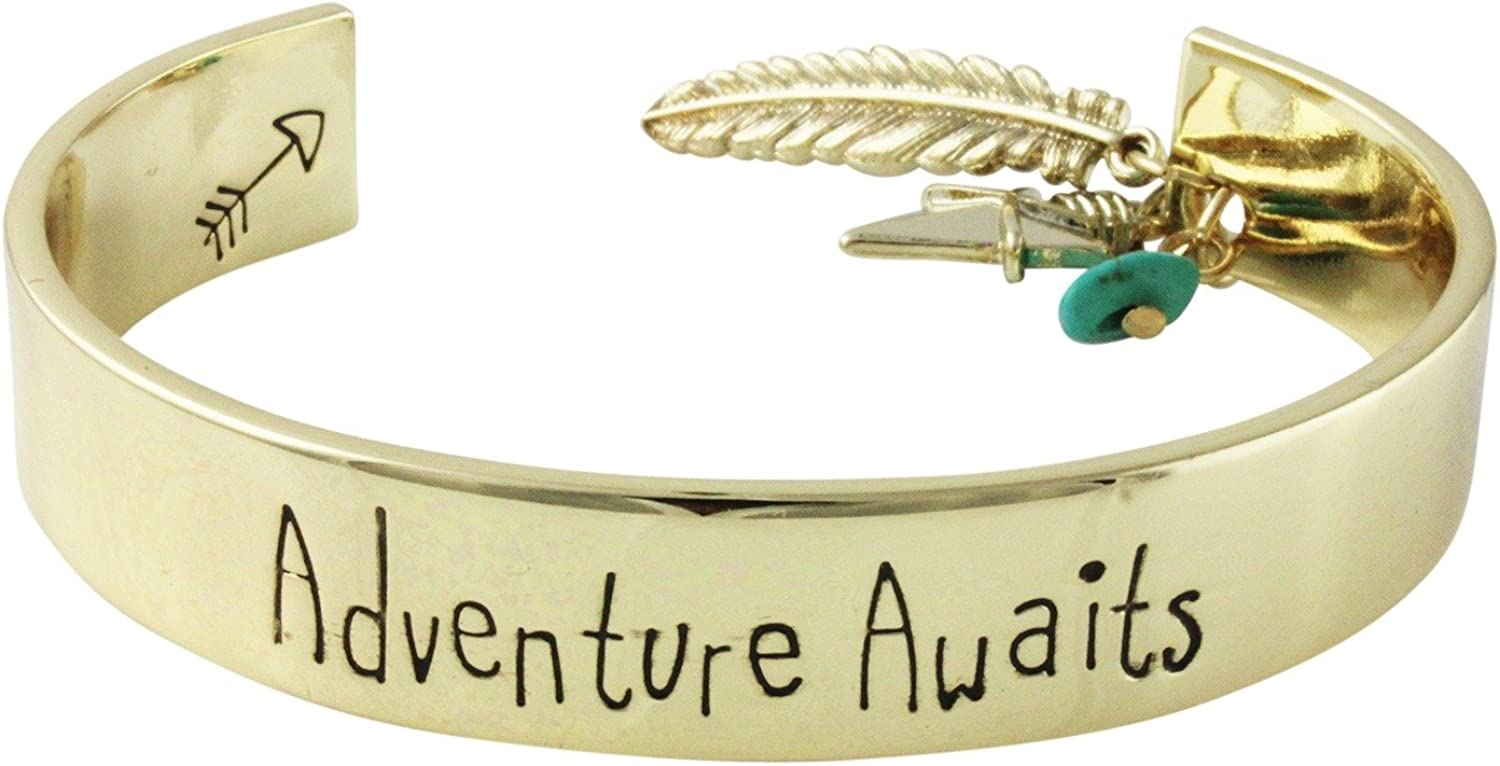 Inspirational Adventure Awaits Antiqued Goldtone Cuff Bracelet with Charms
