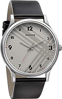 Sonata Smart Plaid Analog White Dial Men's Watch-77105SL01