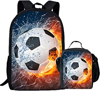 Coloranimal Fire Soccer Ball Printing School Backpacks with Lunch Bag Box