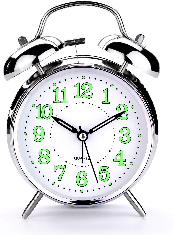 PILIFE 4 inch Retro Regular discount Analog Max 41% OFF Twin Bell Heavy Clock for Alarm Sleep