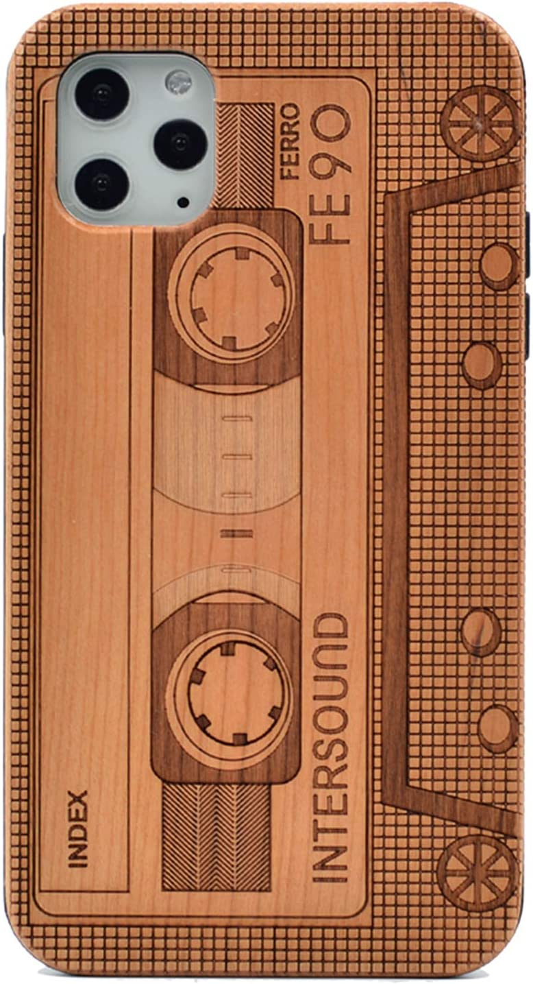 CYD Wooden Case for iPhone 11 Pro Max, Natural Real Wood Engraved Cool Cassette Tape Shockproof Drop Proof Slim Bumper TPU Protective Cover