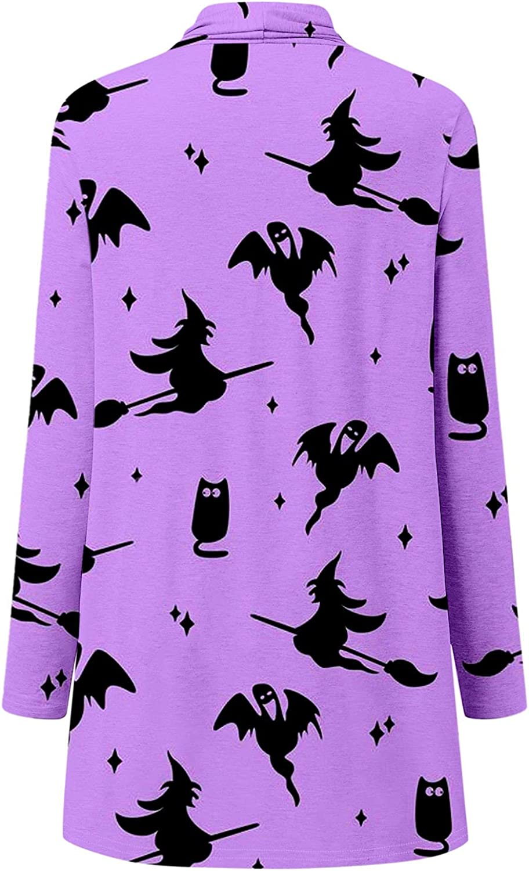 Women's Open Front Halloween Cardigan Long Sleeves Shrugs Funny Cute Pumpkin Black Cat Graphic Blouse Lightweight Coats