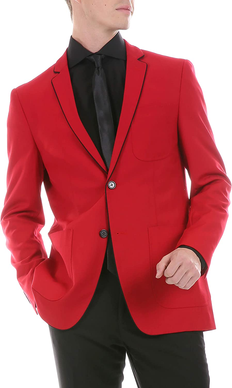 Ferrecci Men's Porter Tuxedo Trim Slim Fit Blazer Jacket with Patch Pockets (Red, 40 Regular)