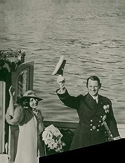 Vintage photo of Crown Prince Frederik of Denmark and Princess Ingrid of Sweden aboard