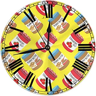 D87fhxc-g4 9.8 Inch Universal Round Wall Clock Strawberry Jelly Peanut Butter Pattern Silent Non Ticking Decorative Wall Easy Read Clock Battery Operated is Designed to Fit Anywhere in Your Home