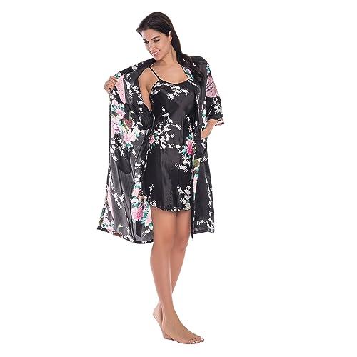 db8d33632e90 Joy Bridalc Women s Kimono Robe Gorgeous Loungewear 2PC Set Sleepwear  Camisole   Robe
