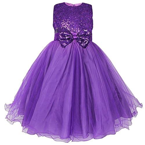 a4bfe2d6af8 YiZYiF Kids Girls  Sequined Party Bridesmaid Flower Girl Dress Graduation  Recital