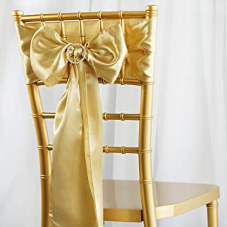 BalsaCircle 20 Champagne Satin Chair Sashes Bows Ties for Wedding Decorations Party Supplies Events Chair Covers Decor Banquet Reception