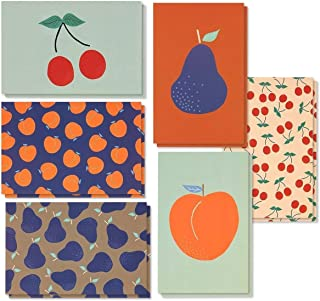 48 Pack All Occasion Assorted Blank Vintage Note Cards Greeting Cards Bulk Box Set - 6 Colorful Fruit Designs Cherries, Pears, Peaches Notecards with Envelopes Included - 4 x 6 Inches