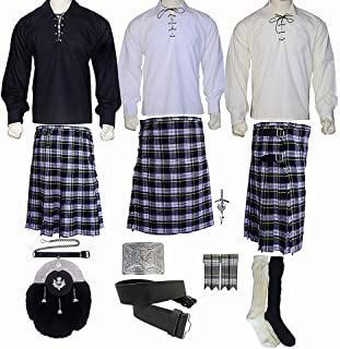 New Scottish Kilt Set of 08 Pcs in Different Tartans