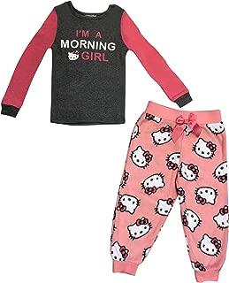 Hello Kitty I'm A Morning Girl Soft Knit Long Sleeve TOP & Logo Hello Kitty Ultra Soft Fleece w Bow ON Waist Pajama Bottom