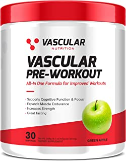 Vascular Nutrition Pre-Workout | Great-Tasting Green Apple Pre Workout Powder | Energy Booster & Muscle Endurance Suppleme...