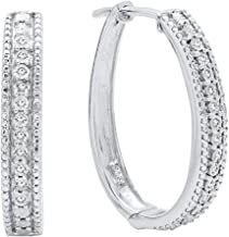 Dazzlingrock Collection 0.10 Carat (ctw) Round White Diamond Ladies Hoop Earrings 1/10 CT, Sterling Silver