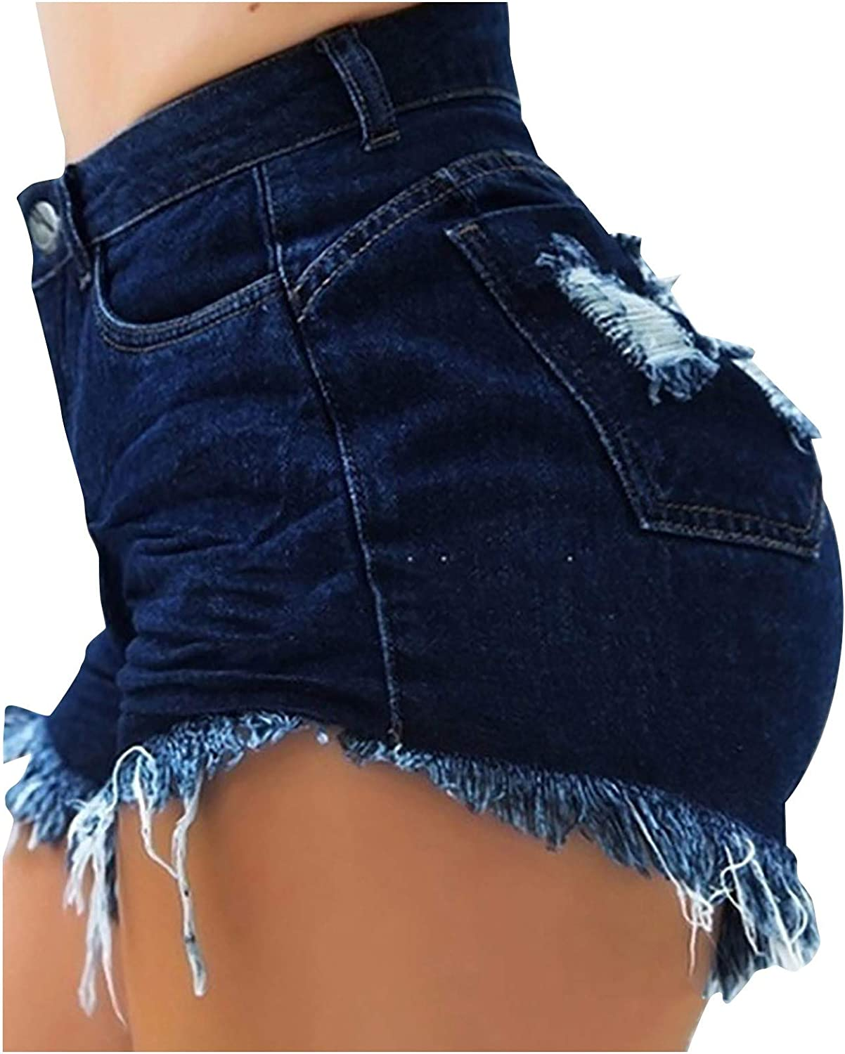Cut-Off Denim Shorts for Women Frayed Distressed Jean Short Cute Mid Rise Ripped Hot Shorts Comfy Stretchy