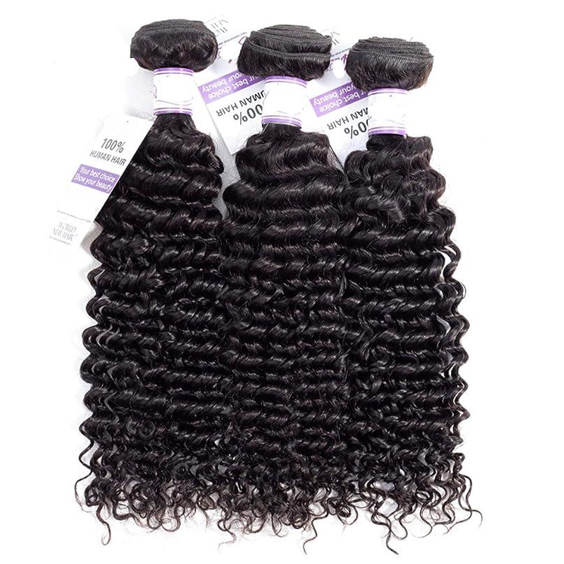 ガラスギャラリー見るマレーシアディープウェーブヘアバンドル8-28インチ100%人毛織りレミー髪ナチュラルカラー3ピース髪バンドル (Stretched Length : 14 16 16)
