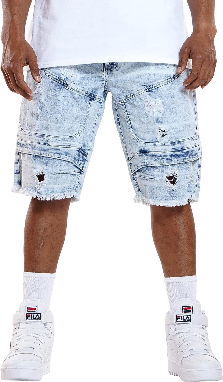 XRAY Jeans Men's Fray Hem Ripped Short - Bleach