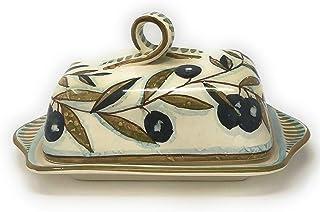 CERAMICHE D'ARTE PARRINI- Ceramica italiana artistica, burriera decorazione country, dipinto a mano, made in ITALY Toscana