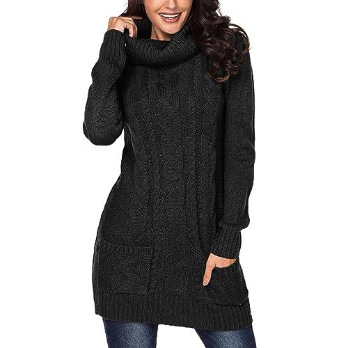 33805362424 Asvivid Women Turtleneck Cable Knit Sweater Dress Long Sleeve Slim Pullover  Top Size UK6-20