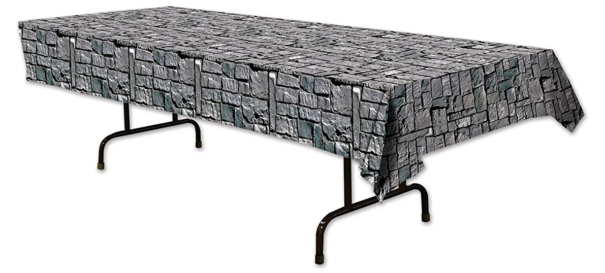 "Beistle 54535 Stone Wall Tablecover, 54"" x 108""(4.5ft x 9ft)"