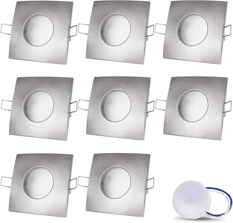 LED Einbaustrahler VENEDIG (Matt-Chrom) Quadratisch Inkl. 8 X 5W LED Modul Kaltweiss 230V IP44 LED Deckenstrahler Einbauleuchte Deckeneinbaustrahler Einbauspot Deckeneinbauleuchte Nur 60mm Einbautiefe