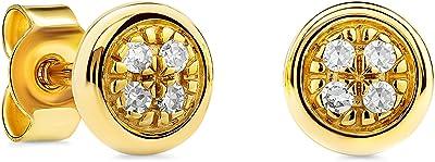 Miore Pendientes de oro blanco y amarillo de 9 quilates con diamantes de 0,03 quilates Rubover para mujer Ø 4 mm