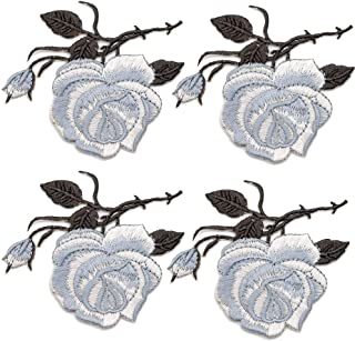 4PCS Embroidery Lace Flower Fabric Applique Sew on Patches Embroidered Patch DIY for Clothings,Jeans (Gray)