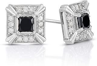 NATALIA DRAKE Sterling Silver 1.00ctw Black Diamond Princess Cut Halo Stud Earrings